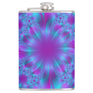 Blue purple fractal illustration hip flask