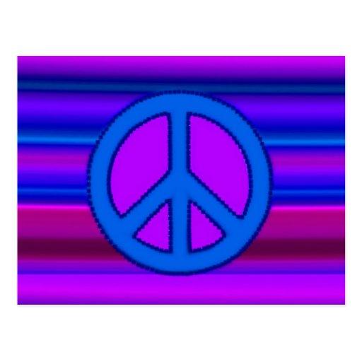 blue purple fractal amp peace sign post cards zazzle