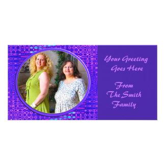 blue purple frame photo card