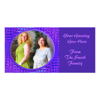 blue purple frame photo greeting card