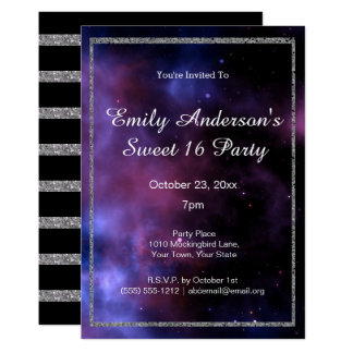 Blue Purple Galaxy Silver Sweet 16 Birthday Card