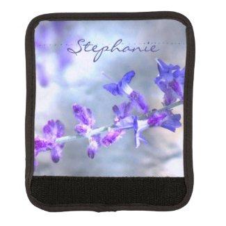 Blue Purple Garden Flowers Luggage Handle Wrap