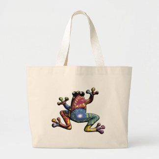 Blue Purple Gold Paisley Frog Large Tote Bag