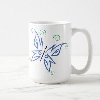 Blue Purple Green Butterfly Tribal Tattoo Design Coffee Mug