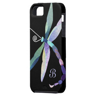 Blue Purple Green Dragonfly Monogram iPhone SE/5/5s Case