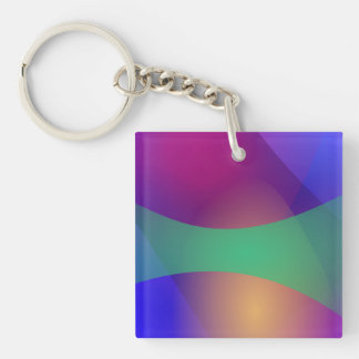 Blue Purple Green Square Acrylic Keychains