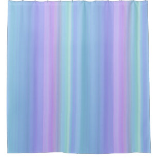 Blue Purple Green Pastel Stripes Shower Curtain