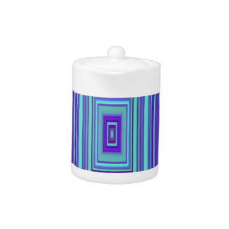 Blue Purple Green Rectangles Geometric Art Teapot