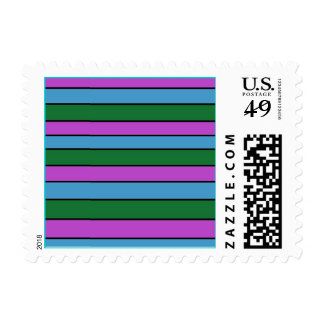 Blue Purple Green Striped Pattern Postage