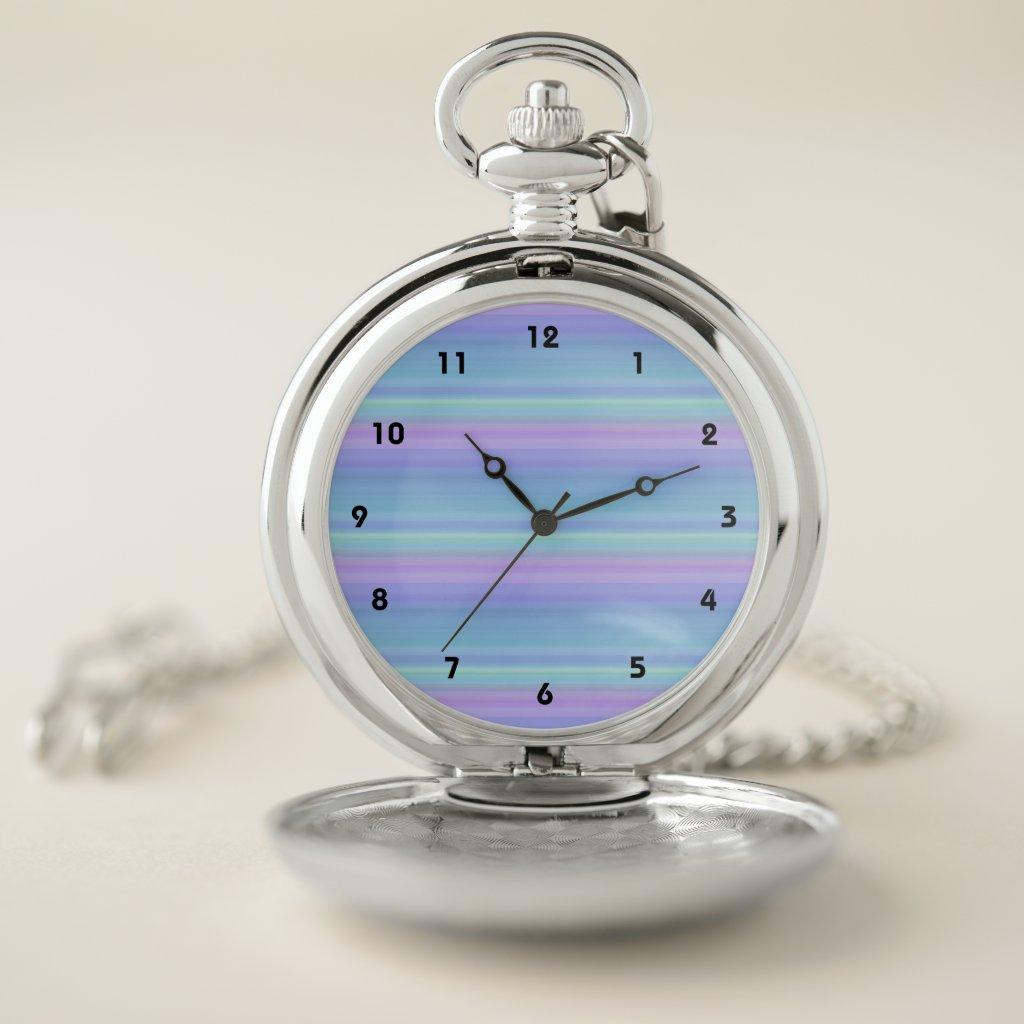 Blue Purple Green Turquoise Stripes Pocket Watch