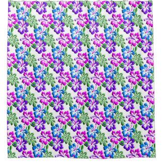 Blue Purple Hibiscus Motif Shower Curtain