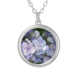 Blue Purple Hydrangea custom sterling silver plate Silver Plated Necklace