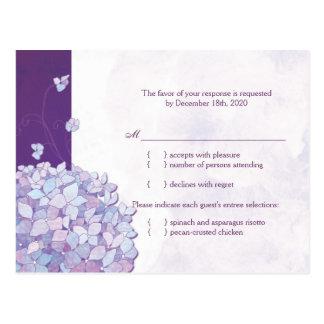 Blue + Purple Hydrangea Wedding RSVP 4 25x5 6 Postcards