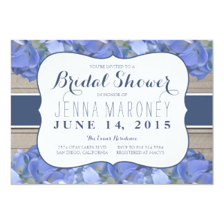 Blue Purple Hydrangea Wood Bridal Shower Card