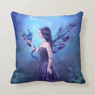 Blue & Purple Iridescent Dragon Throw Pillow