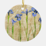 Blue Purple Iris Flowers Brown Background Floral Ceramic Ornament