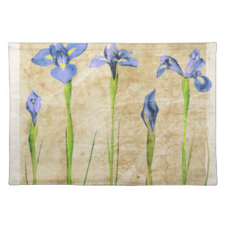 Blue Purple Iris Flowers Brown Background Floral Placemat