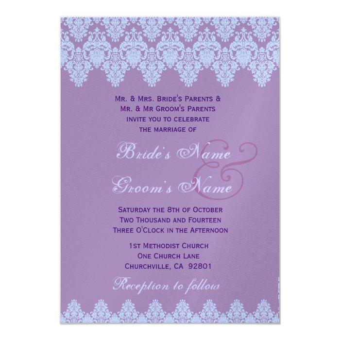 Blue Purple Lace Damask Wedding Premium Metallic Card