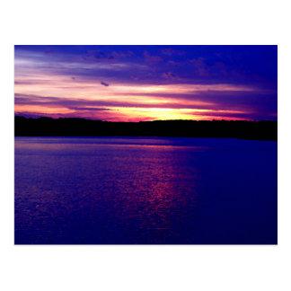 Blue Purple Lake Magical Sunset Pretty Peaceful Postcard