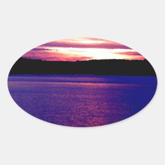 Blue Purple Lake Magical Sunset Pretty Peaceful Oval Stickers