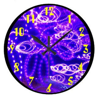 Blue Purple Lights in Motion Large Clock