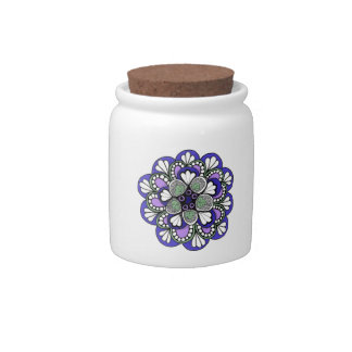 Blue Purple Mandala sugar bowl Candy Jars