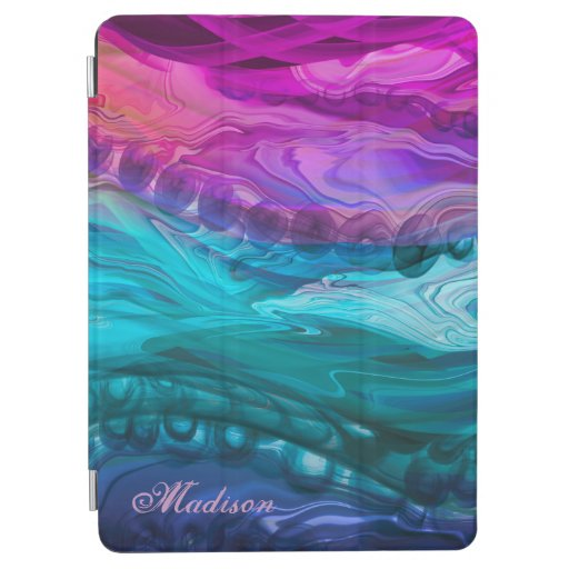 Blue purple marbling waves iPad air cover