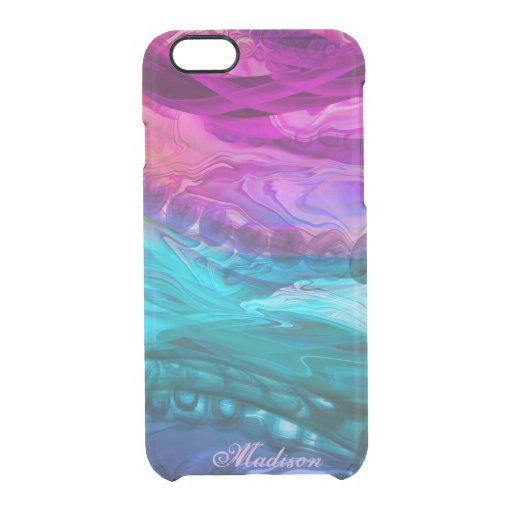 Blue purple marbling waves clear iPhone 6/6S case