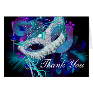 Blue & Purple Masks Masquerade Thank You Card