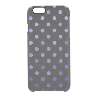 Blue Purple Metallic Faux Foil Polka Dot Black Clear iPhone 6/6S Case