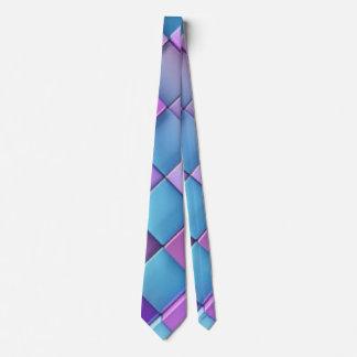 Blue Purple Multi color Square Pattern Design Neck Tie