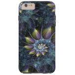 Blue Purple Nautilus Spiral Floral Fractal Pattern Tough iPhone 6 Plus Case