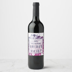Blue & Purple Ombre Sunflowers Bridesmaid Proposal Wine Label