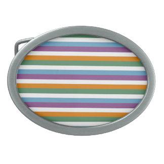 Blue Purple Orange Green Stripes Pattern Oval Belt Buckle
