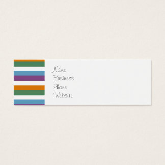 Blue Purple Orange Green Stripes Pattern Mini Business Card
