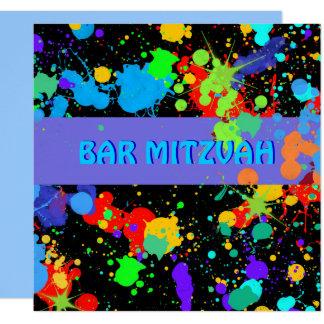 Blue, Purple Paint Splatter, Bar Mitzvah Card