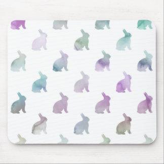 Blue Purple Pastel Watercolor Bunny Background Mouse Pad