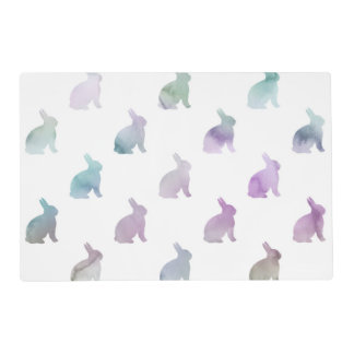 Blue Purple Pastel Watercolor Bunny Background Placemat