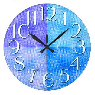 Blue Purple Pattern Elegant Oversize Numbers Wallclocks