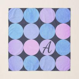 Blue Purple & Pink Circles Monogram Scarf