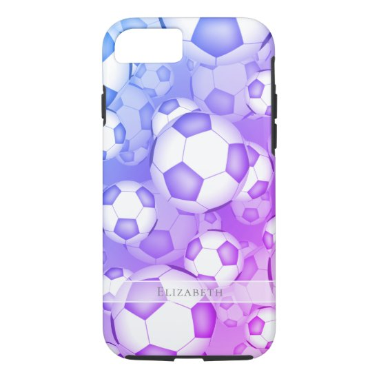 blue purple pink colorful soccer balls pattern iPhone 8/7 case