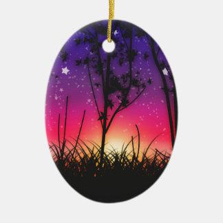 Blue Purple Pink Sunset Moonrise Ceramic Ornament