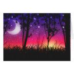 Blue Purple Pink Sunset Moonrise Greeting Card