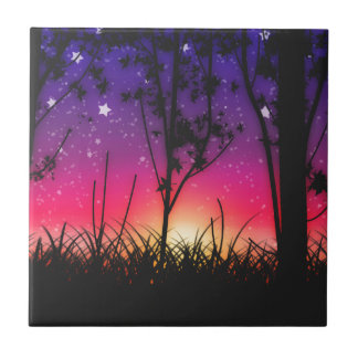 Blue Purple Pink Sunset Moonrise Small Square Tile