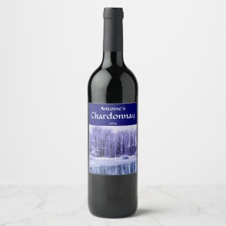 Blue Purple Pond and Winter Woods Wine Label