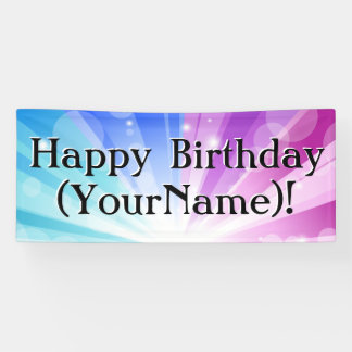 Blue/Purple Ray Personalized Birthday Party Banner