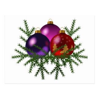 Blue, Purple, & Red Christmas Balls on Pine Sprigs Postcard