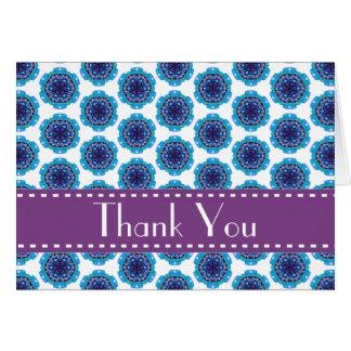 Blue Purple Retro Bridal Shower Thank You V05 Stationery Note Card