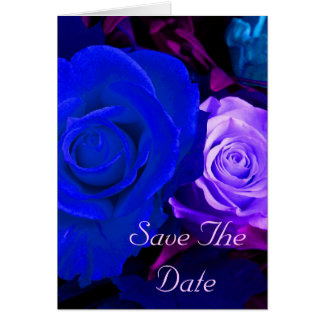 Blue Purple Rose Save The Date Cards