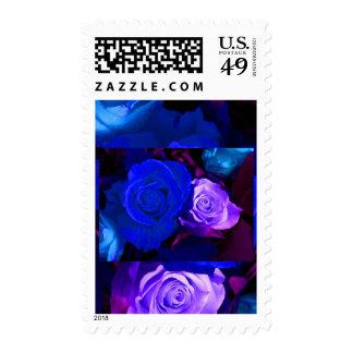 Blue Purple Rose Stamp